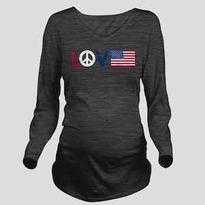 love peace america Long Sleeve Maternity T-Shi