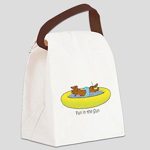 Dachshund - Fun in the Sun Canvas Lunch Bag