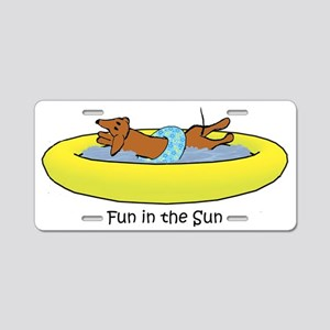 Dachshund - Fun in the Sun Aluminum License Plate