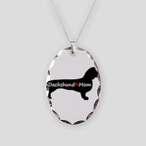 Dachshund Mom Necklace Oval Charm