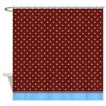 Brown And White Dots With Blue Trim Shower Curtain