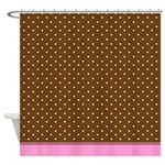 Brown Polka Dot With Pink Trim Shower Curtain