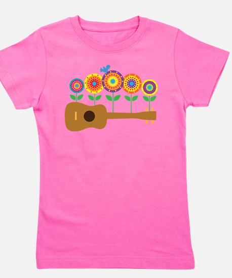 Ukulele Flowers Girl's Tee