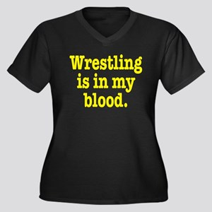 Wrestling Women's Plus Size V-Neck Dark T-Shirt