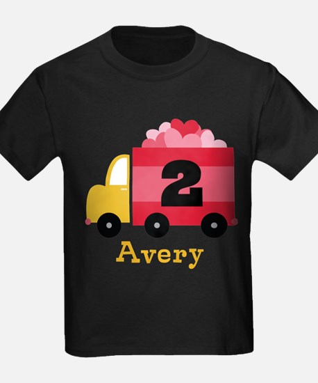 Personalized 2nd Birthday Valentine Truck T-Shirt