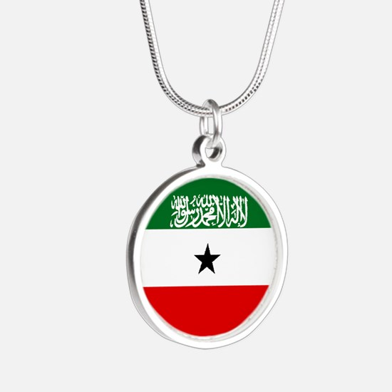 Somaliland Flag Silver Round Necklace