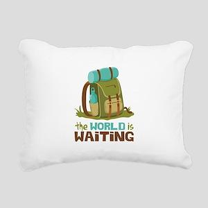 The World is Waiting Rectangular Canvas Pillow