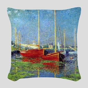 Monet Boats at Argenteuil Woven Throw Pillow