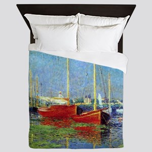 Monet Boats at Argenteuil Queen Duvet