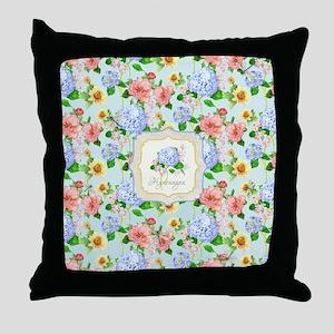 Blue Hydrangea Shabby Chic Cottage Fl Throw Pillow