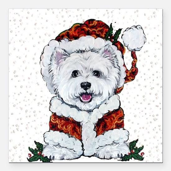"Santas Westie Helper Square Car Magnet 3"" x 3"""