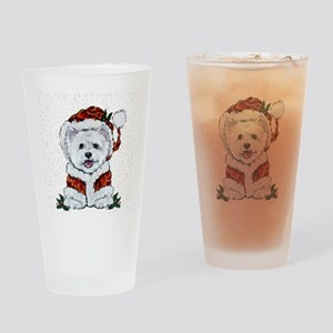 Santas Westie Helper Drinking Glass