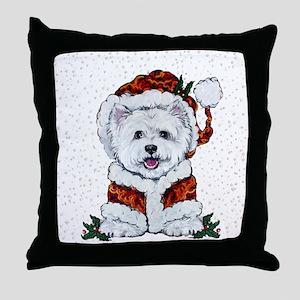 Santas Westie Helper Throw Pillow