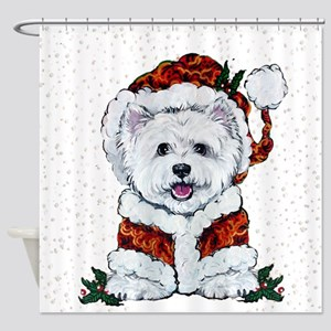 Santas Westie Helper Shower Curtain