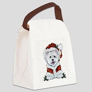 Santas Westie Helper Canvas Lunch Bag