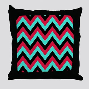 Turquoise and Crimson 5 Throw Pillow