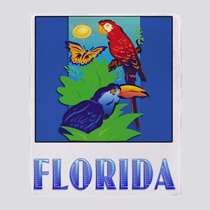 FLORIDA Macaw, Parrot, Butterfly,  J Throw Blanket