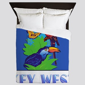 Macaw, Parrot, Butterfly,  Jungle KEY  Queen Duvet
