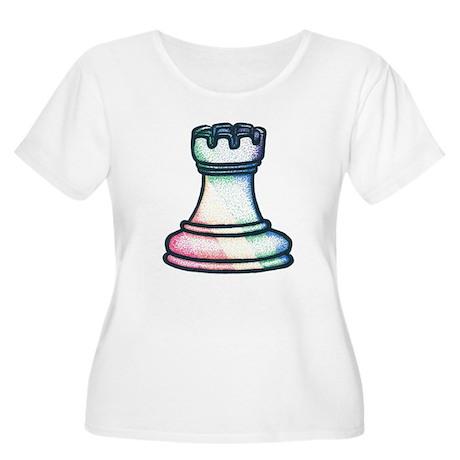 Rainbow Chess Rook Women's Plus Size Scoop Neck T-