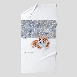 Corgi Winter Snow Beach Towel
