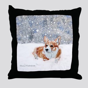 Corgi Winter Snow Throw Pillow