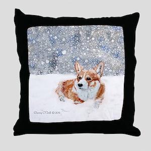 Corgi Winter Snow Throw Pillow