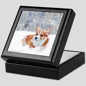 Corgi Winter Snow Keepsake Box