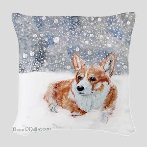 Corgi Winter Snow Woven Throw Pillow
