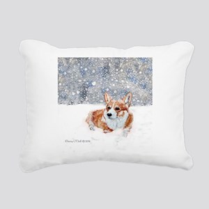 Corgi Winter Snow Rectangular Canvas Pillow