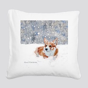 Corgi Winter Snow Square Canvas Pillow