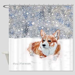 Corgi Winter Snow Shower Curtain