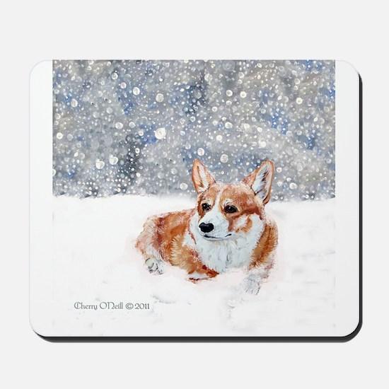 Corgi Winter Snow Mousepad