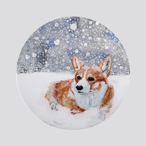 Corgi Winter Snow Ornament (Round)