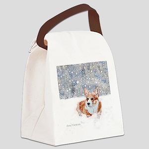 Corgi Winter Snow Canvas Lunch Bag