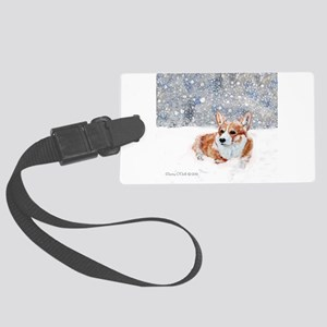 Corgi Winter Snow Luggage Tag