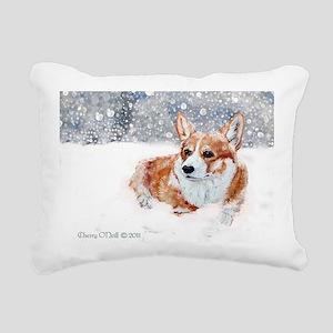 Winter Corgi Rectangular Canvas Pillow