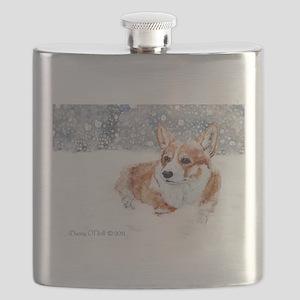 Winter Corgi Flask