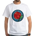 Celtic Rose Stained Glass White T-Shirt