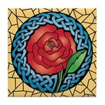 Celtic Rose Stained Glass Tile Coaster