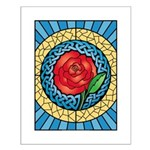 Celtic Rose Stained Glass Small Poster
