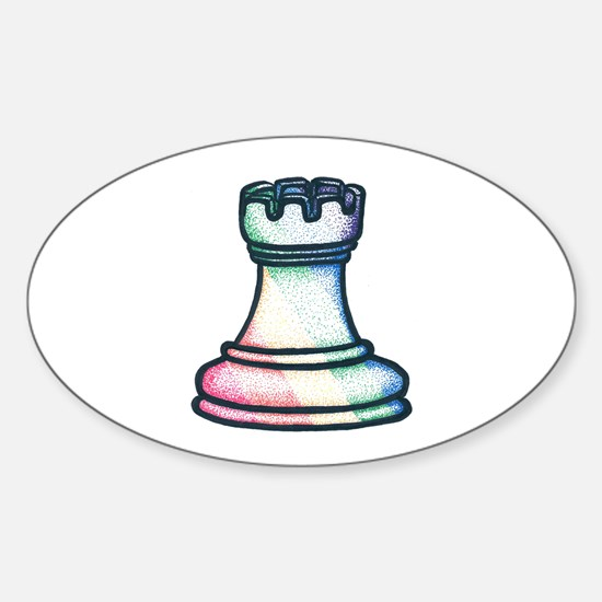 Rainbow Chess Rook Oval Decal