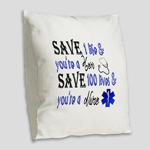 Nurse, Save Burlap Throw Pillow