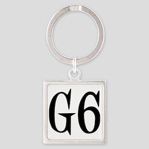 G6, black designer Square Keychain