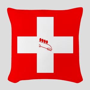 Team Bobsled Switzerland Woven Throw Pillow