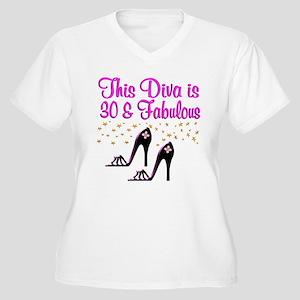 SPARKLING 30TH Women's Plus Size V-Neck T-Shirt