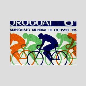 1969 Uruguay Racing Cyclists Post Rectangle Magnet