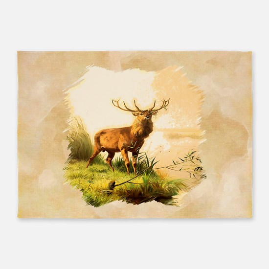 Young Bull Elk 5'x7'Area Rug
