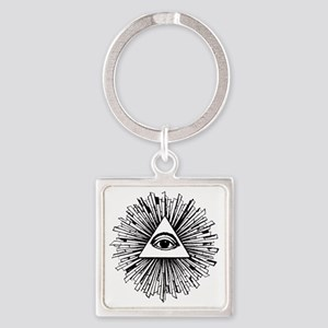 Illuminati Pyramid Eye Square Keychain