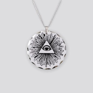Illuminati Pyramid Eye Necklace Circle Charm