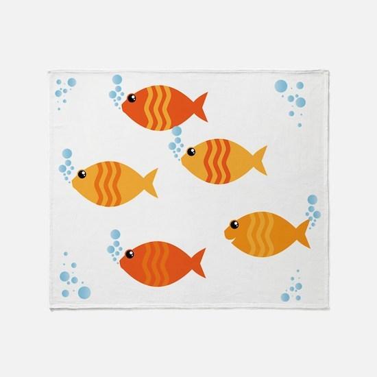 Five Orange Fish Throw Blanket